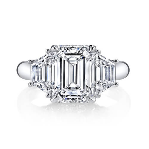 2.22 Ct. Emerald Cut & Trapezoid Three Stone Diamond Ring F,VS1 GIA