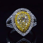 2.03 Ct. Canary Fancy Yellow Pear Cut Diamond Ring GIA