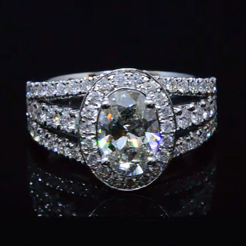 2.30 ct. Oval Cut Diamond Halo Engagement Ring