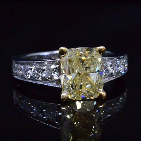 2.63 Ct. Canary Fancy Yellow Cushion Cut Solitaire Diamond Ring
