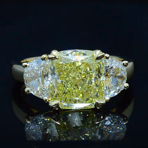 4.02 Ct. Cushion and Half Moon Diamond Engagement Ring FIY, VS2 GIA