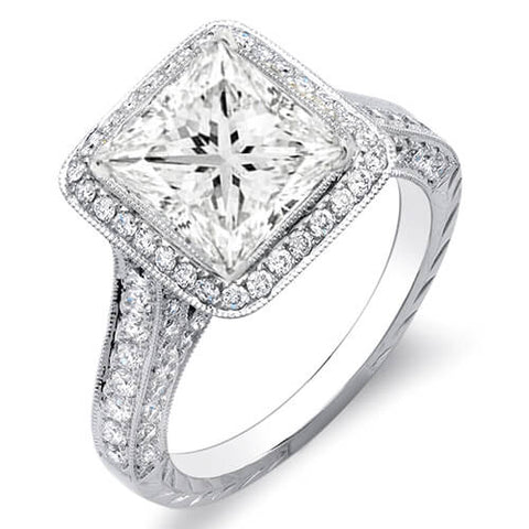 2.18 Ct. Princess Cut w/ Round Cut One Row Halo Diamond Engagement Ring H,SI1 GIA