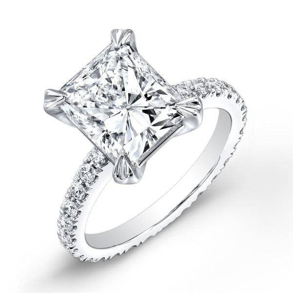 1.91 Ct. Radiant Cut Diamond Solitaire Eternity Engagement Ring E,VS2 GIA