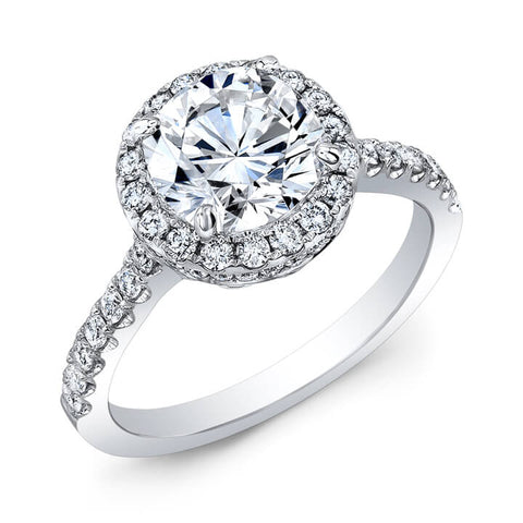 2.32 Ct. Halo Round Cut U-Set & Pave Diamond Engagement Ring H,VS1 EGL