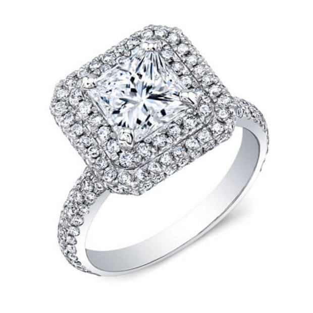 2.10 Ct. Double Halo Micro Pave Princess Cut Diamond Engagement Ring H,SI1 GIA