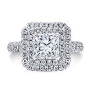2.10 Ct. Double Halo Micro Pave Princess Cut Diamond Engagement Ring E,VS1 GIA