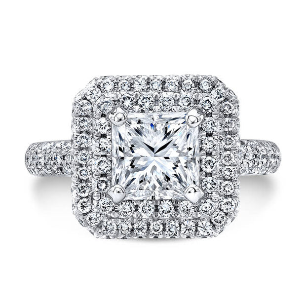 2.29 Ct. Double Halo Micro Pave Princess Cut Diamond Engagement Ring E,VVS2 GIA