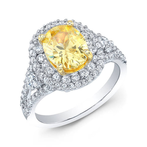 2.80 Ct. Canary Oval Cut Dual Halo Diamond Ring SI1,FY GIA