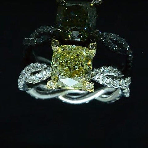 3.29 Ct. Canary Cushion Cut Diamond Eternity Twist Shank Engagement Ring