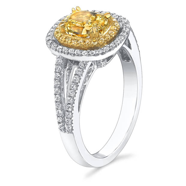 2.05 Ct. Canary Fancy Yellow Cushion Cut Diamond Engagement Ring (GIA Certified)