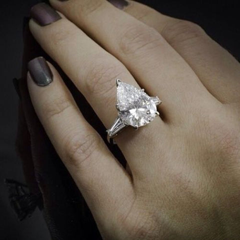 1.50 Ct. Pear Cut w Baguettes 3-Stone Diamond Engagement Ring F Color SI1 GIA Certified
