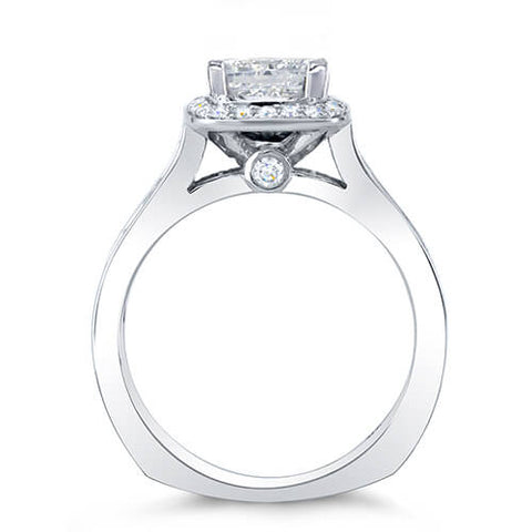 1.90 Ct. Halo Princess w/ Round & Princess Cut Diamond Engagement Ring H,VVS2 GIA