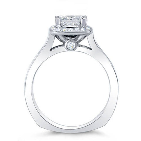 2.18 Ct. Halo Asscher w/ Round & Princess Cut Diamond Engagement Ring F,SI1 GIA