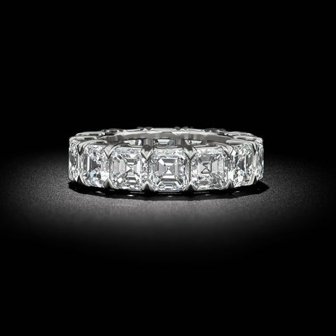 8.0 Ct. Asscher Cut Diamond Eternity Ring F-G Color VS1 Clarity