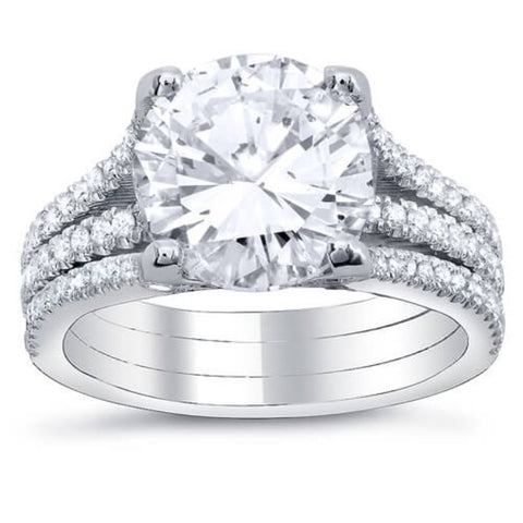 6.26 Ct. Round Cut Diamond Engagement Ring w/ Round Pave H,VS2