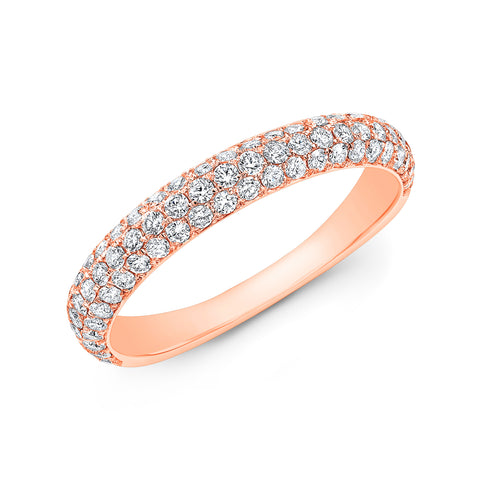 3 Rows Round Cut Pave Diamond Ring Wedding Band rose gold
