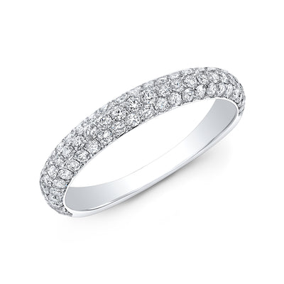 3 Rows Round Cut Pave Diamond Ring Wedding Band white gold