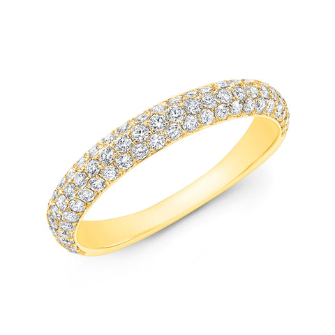 3 Rows Round Cut Pave Diamond Ring Wedding Band yellow gold