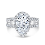 4.40 Ct. Pear Cut Split Shank Diamond Engagement Ring J Color VS2 GIA Certified