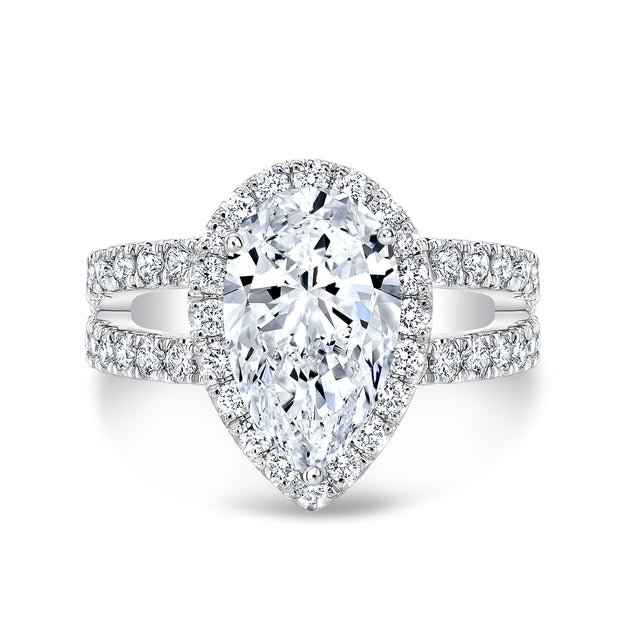 1.90 Ct. Pear Cut Split Shank Diamond Engagement Ring G Color VS2 GIA Certified