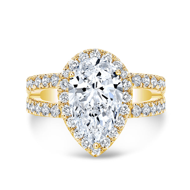 2.60 Ct. Pear Cut Split Shank Diamond Engagement Ring H Color VS2 GIA Certified