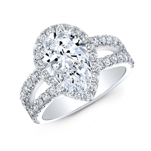 1.60 Ct. Pear Cut Split Shank Diamond Engagement Ring F Color VS1 GIA Certified