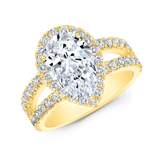 2.90 Ct. Pear Cut Split Shank Diamond Engagement Ring F Color VS1 GIA Certified