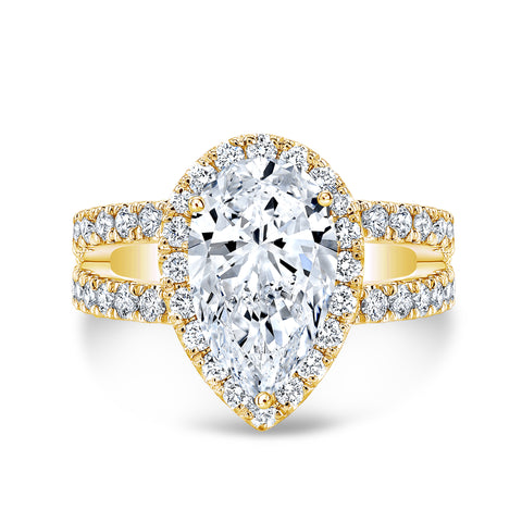 1.85 Ct. Halo Pear Cut Tear Drop Split Shank Diamond Engagement Ring H Color VS2 GIA Certified