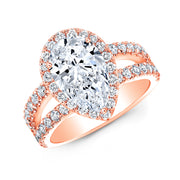 2.85 Ct. Halo Pear Cut Tear Drop Split Shank Diamond Ring G Color SI1 GIA Certified