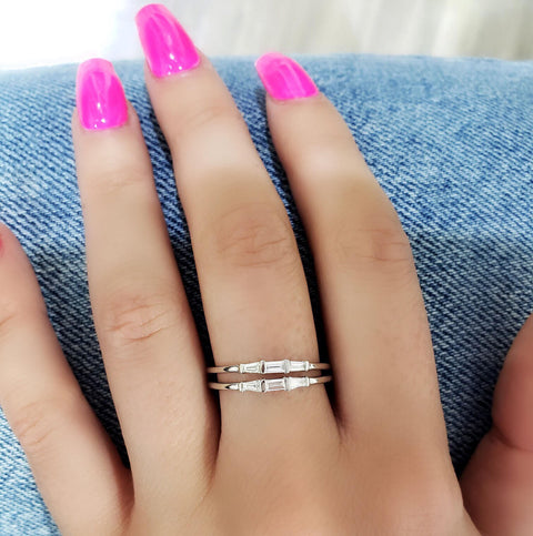 3 Stone Baguette Diamond Solitaire Ring