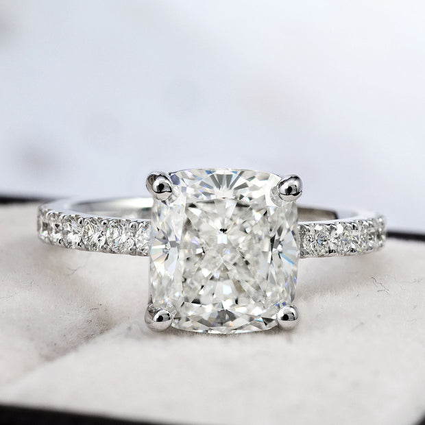 2.10 Ct. Cushion Cut Solitaire Diamond Engagement Ring w Accents I Color VS2 GIA Certified