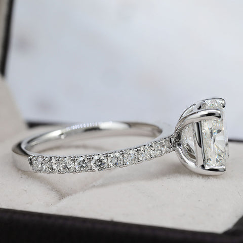 2.90 Ct. Classic Cushion Cut Diamond Engagement Ring Set H Color VS2 GIA Certified