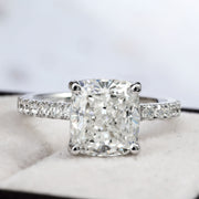 4.25 Ct. Cushion Cut Solitaire Diamond  Ring w Accents I Color VS1 GIA Certified