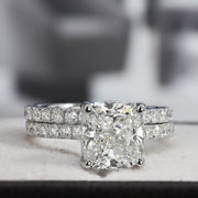 2.80 Ct. Cushion Cut Diamond Engagement Ring Set G Color SI1 GIA Certified