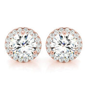 1.40 Ct. Halo Round Brilliant Cut Diamond Stud Earrings H Color SI1 Clarity