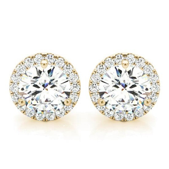 1.0 Ct. Halo Round Brilliant Cut Diamond Stud Earrings H Color SI1 Clarity