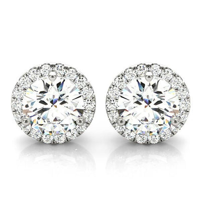 1.80 Ct. Halo Round Brilliant Cut Diamond Stud Earrings H Color SI1 GIA Certified