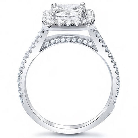 2.10 Ct. Radiant Cut w/ Round Cut Halo Diamond Engagement Ring J,VS2 GIA