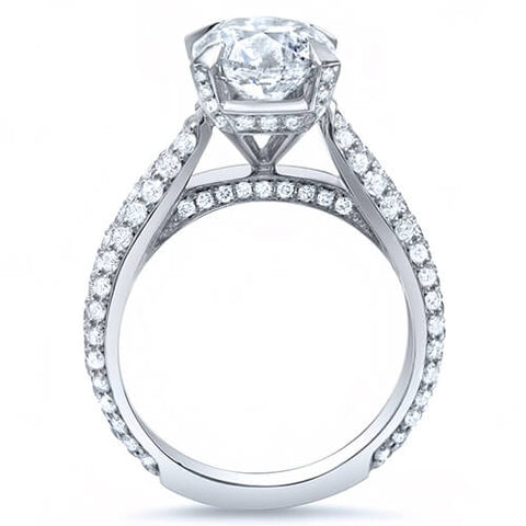 3.37 Ct. Princess Cut w/ Round Cut Micro Pave Diamond Engagement Ring I,VS2 GIA