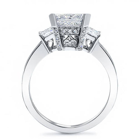 1.87 Ct. Asscher Cut w/ Princess & Round Cut Diamond Engagement Ring H,VS2 GIA