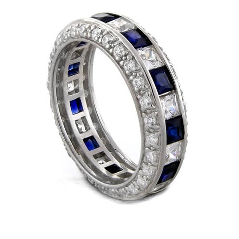 3.50 Ct. Sapphire & Diamond Diamond Eternity Band