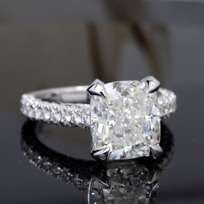 3.60 Ct. Bonny Cushion Cut Diamond Engagement Ring D Color VS1 GIA Certified