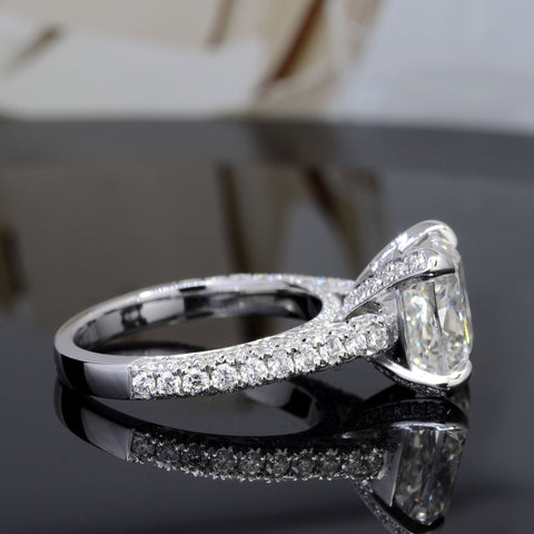 4.10 Ct. Bonny Cushion Cut Diamond Engagement Ring G Color VS2 GIA Certified