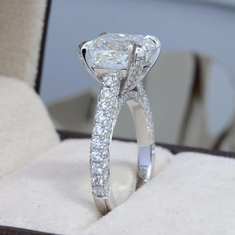 3.60 Ct. Bonny Cushion Cut Diamond Engagement Ring H Color VS2 GIA Certified