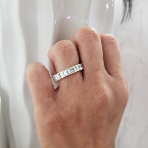 7.00 Ct. U-Setting Emerald Cut Diamond Eternity Ring on hand