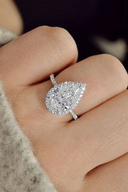 2.70 Ct. Pear Cut Halo Diamond Engagement Ring G Color SI1 GIA Certified