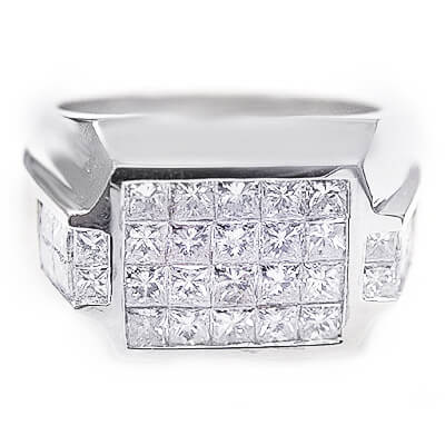 3.20 Ct. Men's Diamond Ring (Invisible Set Mnes Ring)