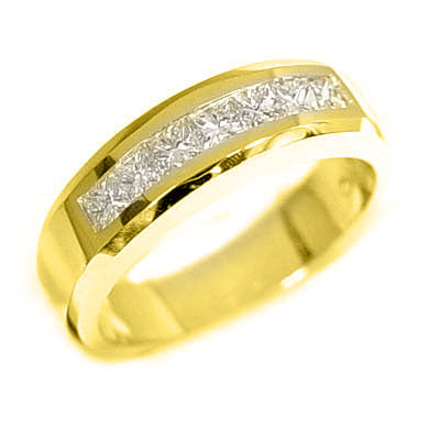 1.00 Ct. Princess Cut Channel Set Diamond Wedding Ring G Color VS1-VS2 Clarity