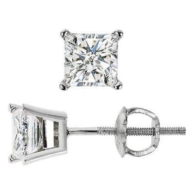 1.00 Ct. Princess Cut Diamond Stud Earrings