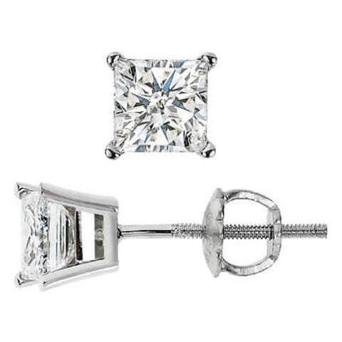 1.40 Ct. Princess Cut Diamond Stud Earrings